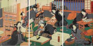 Utagawa_Kunisada_-_Printmaking_triptych
